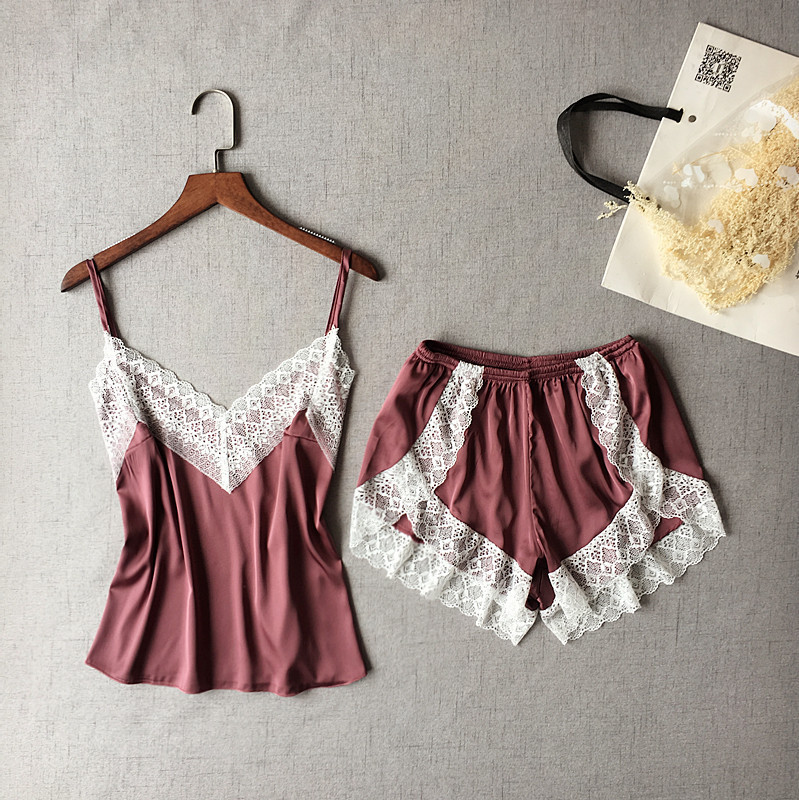 Lisacmvpnel Sexy Patchwork Lace Women Shorts Pajama Set Breathable Spaghetti Strap Female Lingerie(China)
