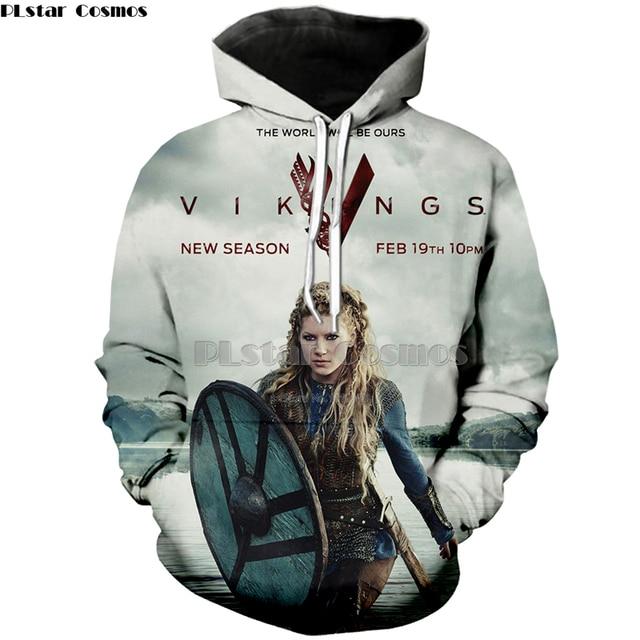 innovative design 69370 1b4e1 PLstar Cosmos Hot Hoodies Sweatshirts 3d print Vikings Summer Loose Thin  Hoodies fashion cool men/women Pullovers Tops free ship-in Hoodies & ...