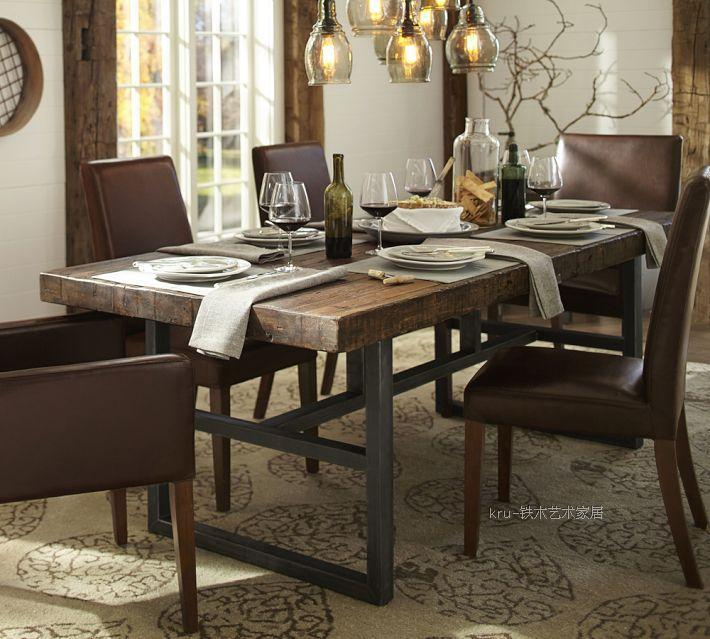 Wrought Iron Coffee Table American Country Dining Table Retro Style - Reclaimed wood and iron dining table