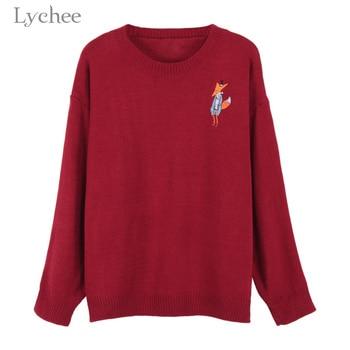 личи осень зима для женщин свитер вязаный мультфильм лиса вышивка с