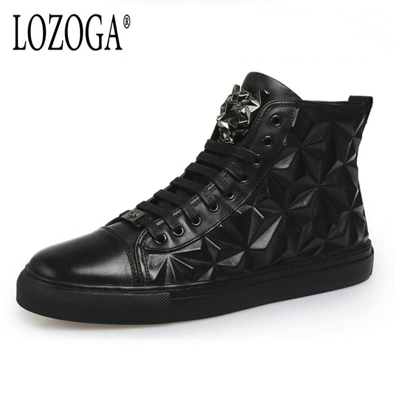 Lozoga Mens Boots Genuine Leather Shoes Embossed Autumn Winter British Casual Shoes Personality Martin Boots Lace-Up Trend Brand
