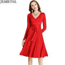 c64525f48e6 Модное Черное Красное зимнее платье 2019 женское с длинным рукавом  сексуальное с v-образным вырезом