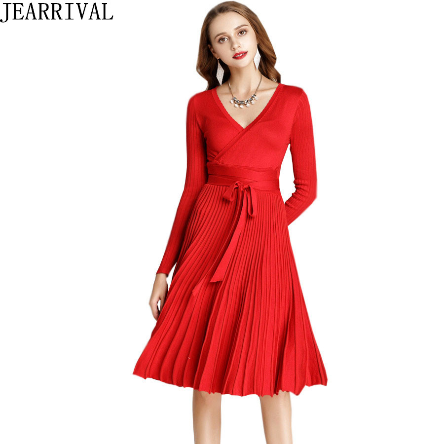 26534ade98c Fashion Black Red Winter Dress 2019 Womens Long Sleeve Sexy V-Neck Elegant  Casual Pleated Tunic Office Knitted Dresses Vestidos