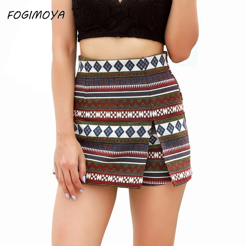 Fogimoya Geometric Print Skirt Women 2018 Summer Fashion Mini Skirts Casual Asymmetrical Skirt Bodycon Wild Holiday Skirts New