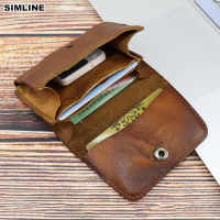 2019 Genuine Leather Card Holder Men Women Vintage Handmade Short Credit Card Holders Coin Purse Case Small Slim Wallet For Male