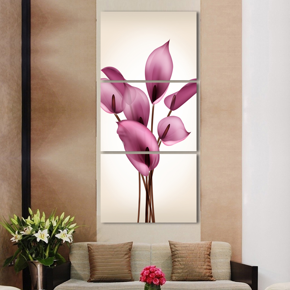 Painting Entryway beautiful lily flowers printed on canvas for entryway,3 panels