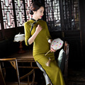 Autumn Winter Chinese Dress Solid Color Half Sleeve Mandarin Collar High Silt Lace Thick Woolen Improved Cheongsam Qipao