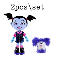 2pcs / lot 25cm Monster Vampirina The Vamp Bat Girl და Purple Dog Stuffed Animal Plush Doll Toys for Kids საჩუქრები