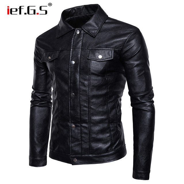IEF.G.S 2018 New men's fashion Casual leather jacket coat High quality Motorcycle leather autumn winter cloth leather jacket