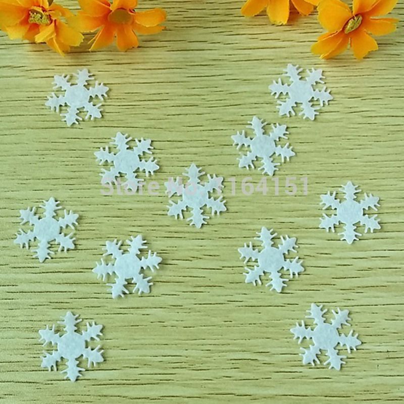 400pcs/lot 25mm White Felt Snowflake Patch Non-Woven Fabric Applique Edelweiss /Crafts non-woven felt snowflake patch