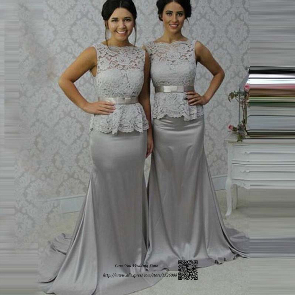 Popular peplum dress bridesmaids buy cheap peplum dress wonderful silver bridesmaid dresses mermaid long wedding guest dress 2017 peplum lace prom gown v back ombrellifo Gallery