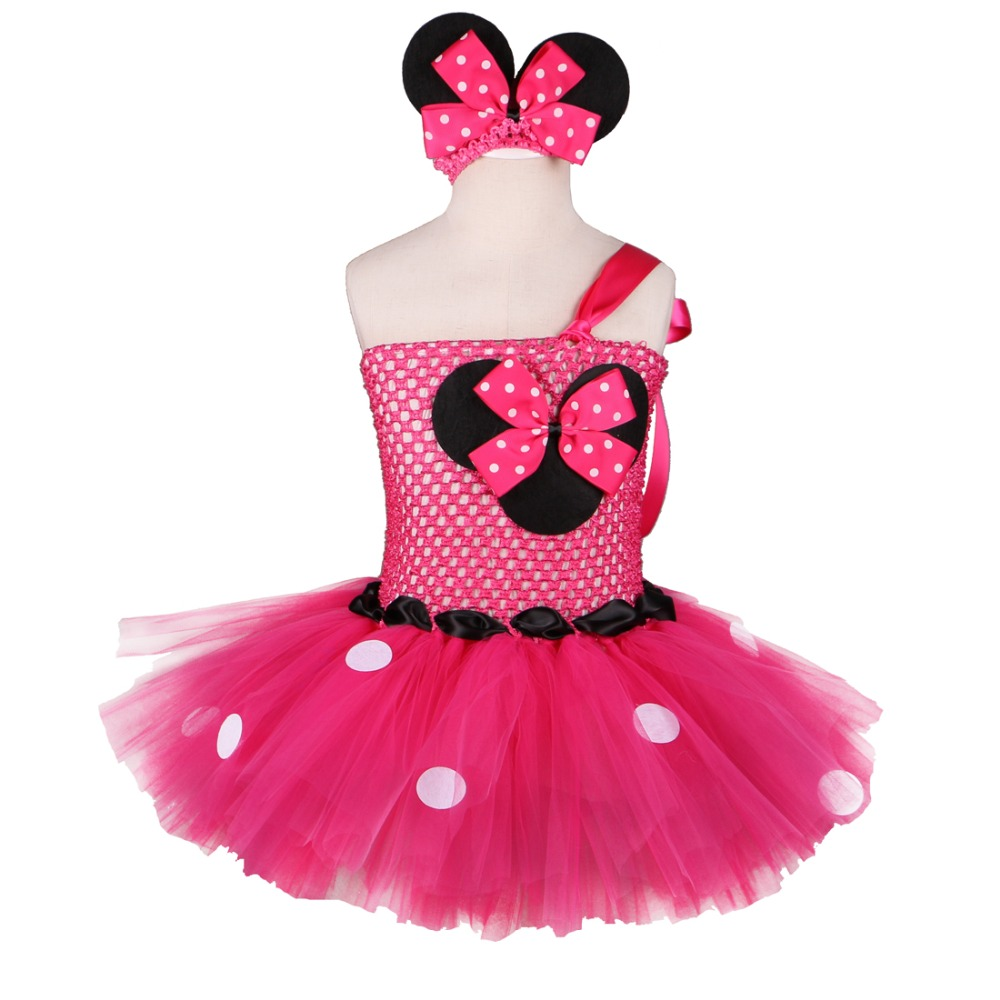 High Quality Minnie Dress Baby Girl Dots Birthday Party Dress Fancy Cosplay Costume Kids Girls Red Pink Tulle Cartoon Tutu Dress costume party star wars light saber blue and red starwar telescopic lightsaber cosplay 33 7 interactive sword model kids toys