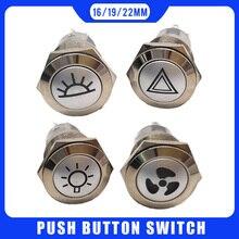 Металлический светодиодный кнопочный выключатель 19 мм, предупреждающий переключатель на приборную панель автомобиля, верхсветильник свет...