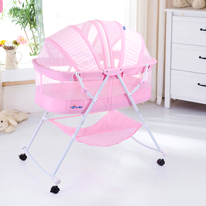 Environmental Protection Newborn Baby Bed Multifunctional Baby Cradle Rolling Wheel Baby Crib Light Weight Travel Baby Cribs C01