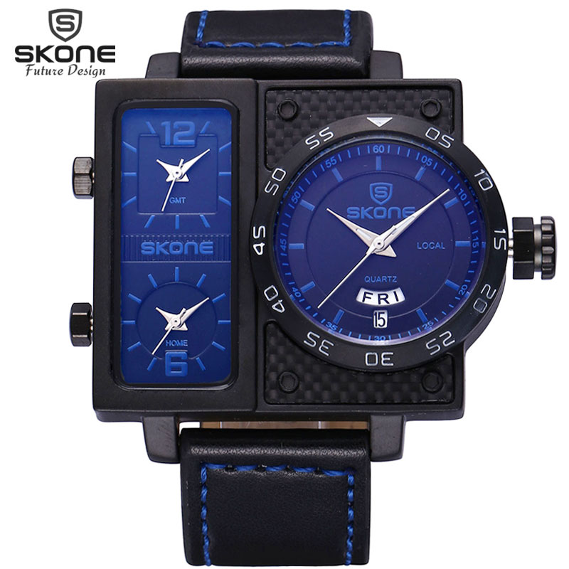 SKONE Multiple Time Zone Leather Military Watch Date Week Sport Watches Men Quartz-watch Shock Resistant NEW Relogios masculinos weide new men quartz casual watch army military sports watch waterproof back light men watches alarm clock multiple time zone
