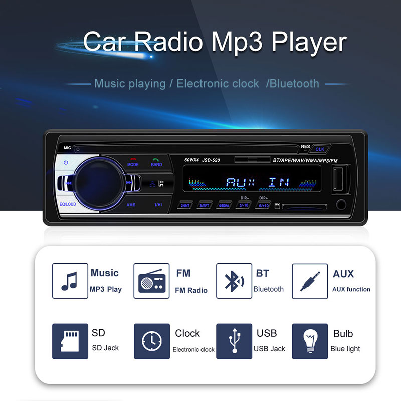 Autoradio Car-Player Audio Bluetooth Recorder Mp3 JSD-520 1 1-Din Oto-Teypleri 12pin
