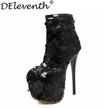 2016 Sequined Cloth High Platform Boots Bling High Heels Pointed Toe Zip Glitter Shoes Women Sexy Evening Party Black Size34-40