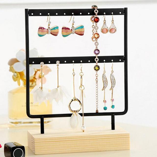 44 Holes Wood Base Metal Jewelry Holder Display Stand Dangle Earrings Hanging