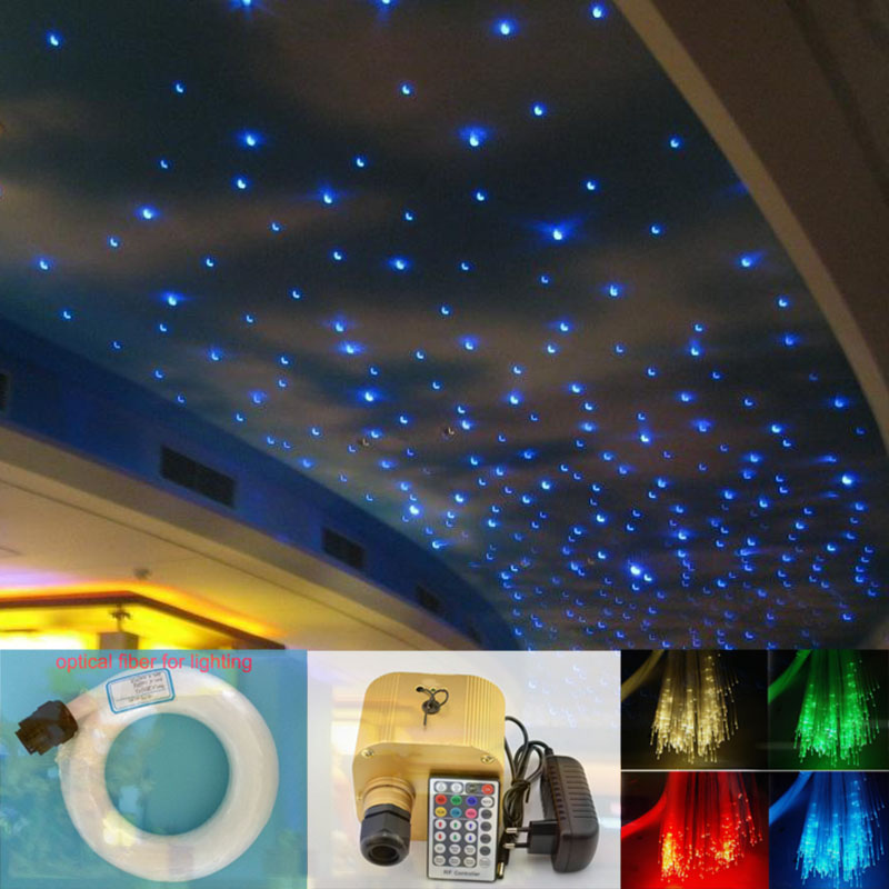 Kingmaled Ceiling Lights Kit 16W Twinkle RGB LED Fiber Optic Star 0.75mm 200pcs*2m Optical Fiber End Glow Light Engine RF Remote