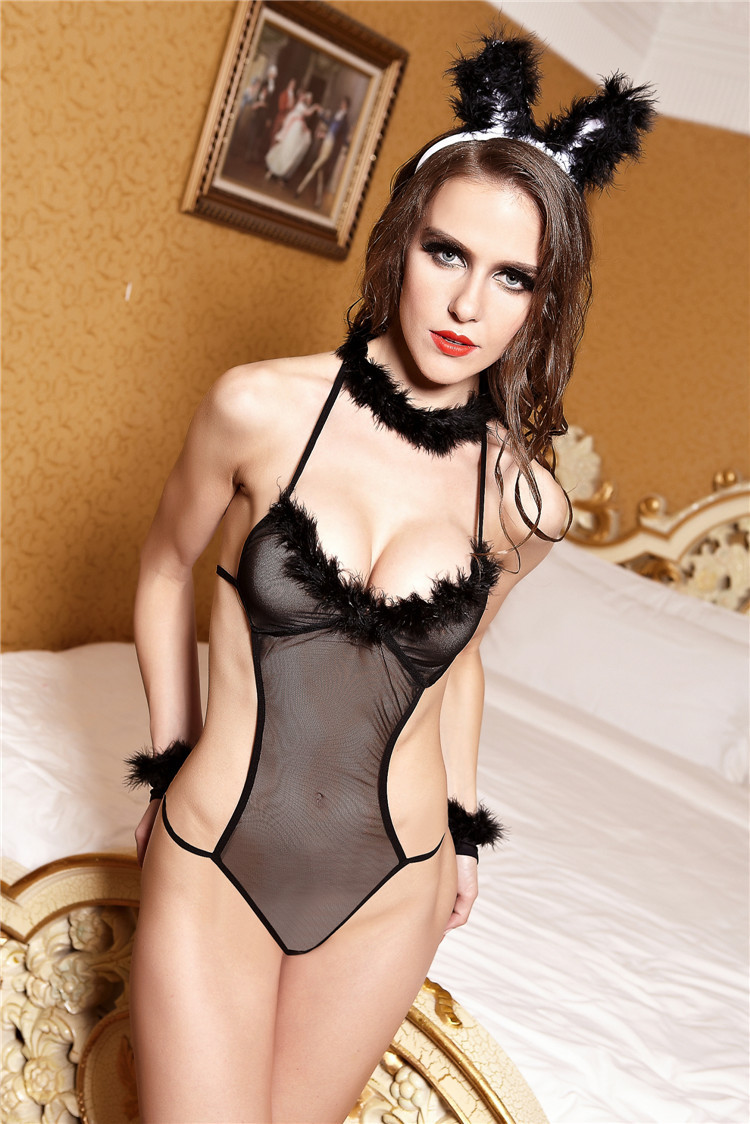 Free Shipping Sexy Women Black Cat Costumes Lingerie -5700