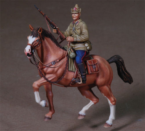 Assembly Unpainted  Scale 1/35 Officer  Russian Mounted Trooper    Historical Toy Resin Model Miniature Kit