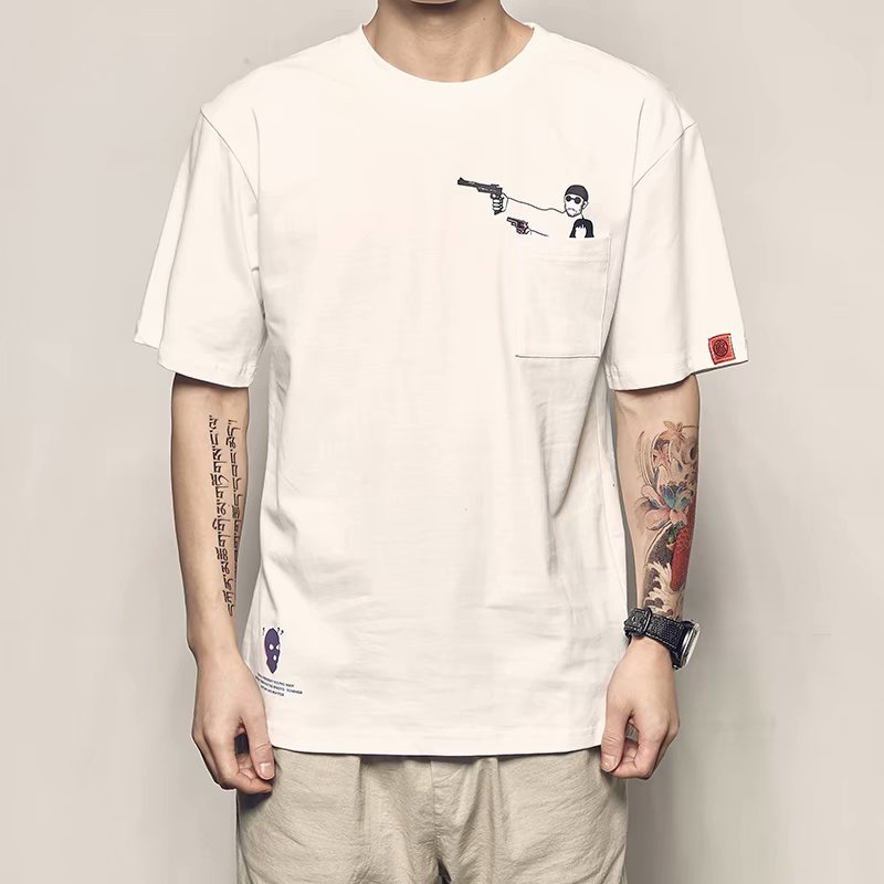 2019 new summer T-shirt men's trend simple personality anime print loose short-sleeved t-shirt