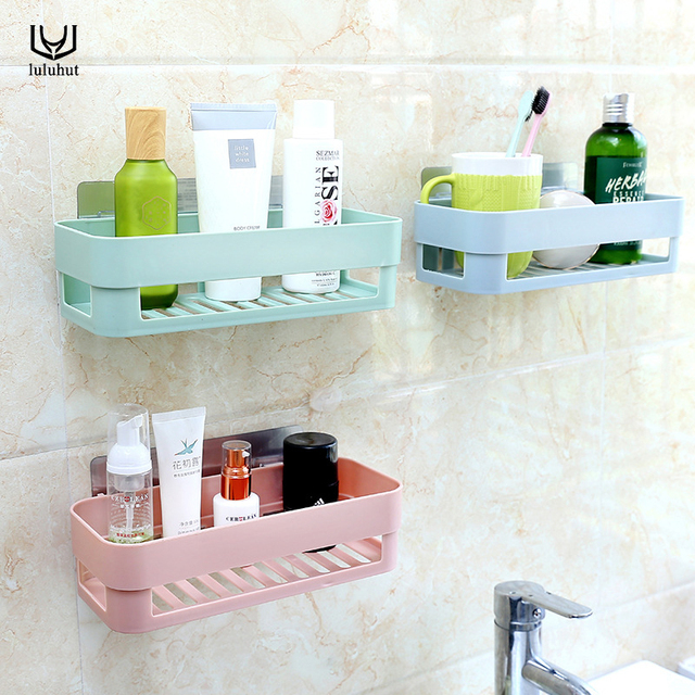 luluhut plastic bathroom shelf wall suction shower gel holder ...