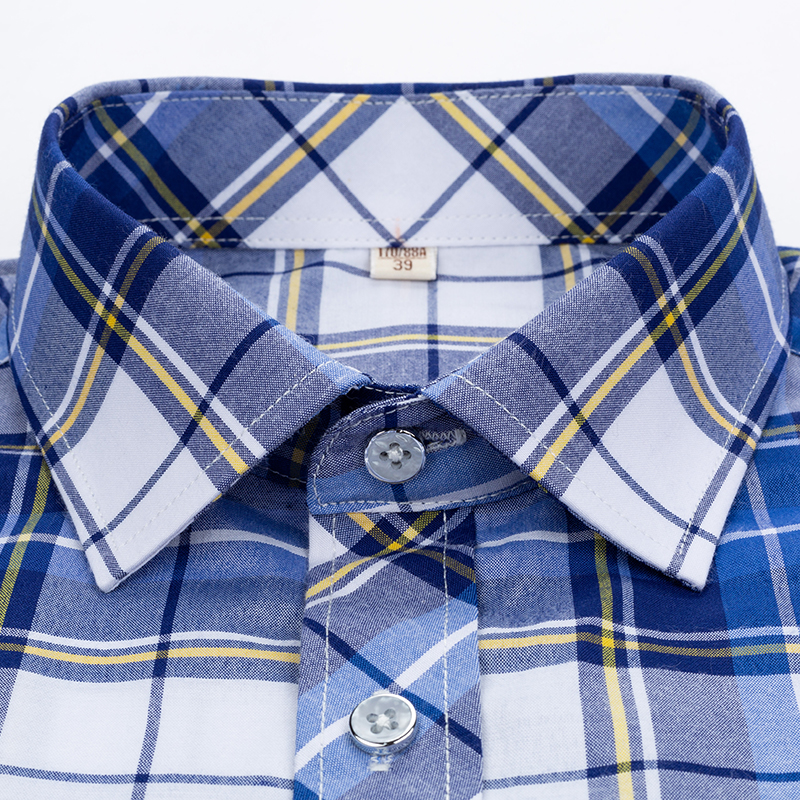 Checkered shirts for men Summer short sleeved leisure slim fit Plaid Shirt square collar soft causal male tops with front pocket 6