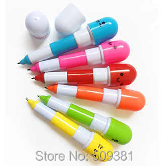 100 pcs/Lot, Free Shipping, Wholesale Novelty Pen, Pill Capsule Retractable Telescopic Style Ballpoint Pen, Cute Gift