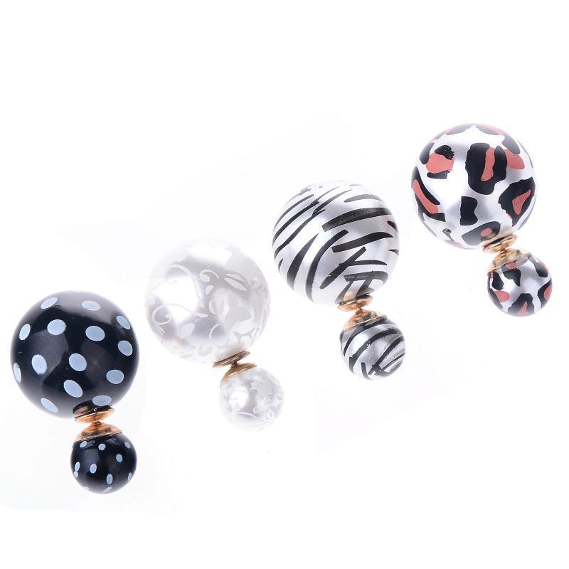 Sale 1Pair Western Style Earring Double Side Leopard Big Pearl Ear Studs Jewelry For Women Free
