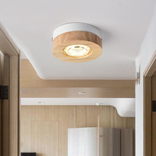 Modern LED Ceiling Lights Wooden Lamp For Corridor Square Round Wood Kitchen Small Surface Mounted