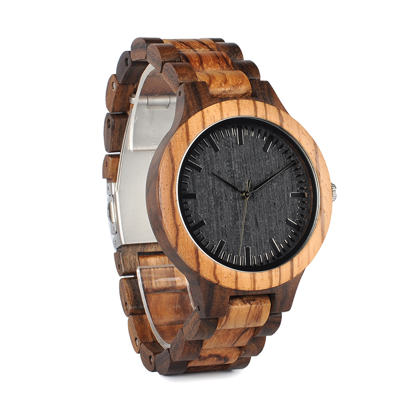 BOBO BIRD Wood Watch Meeste Walnut Ebony puidust rihma kvarts analoog - Meeste käekellad - Foto 5