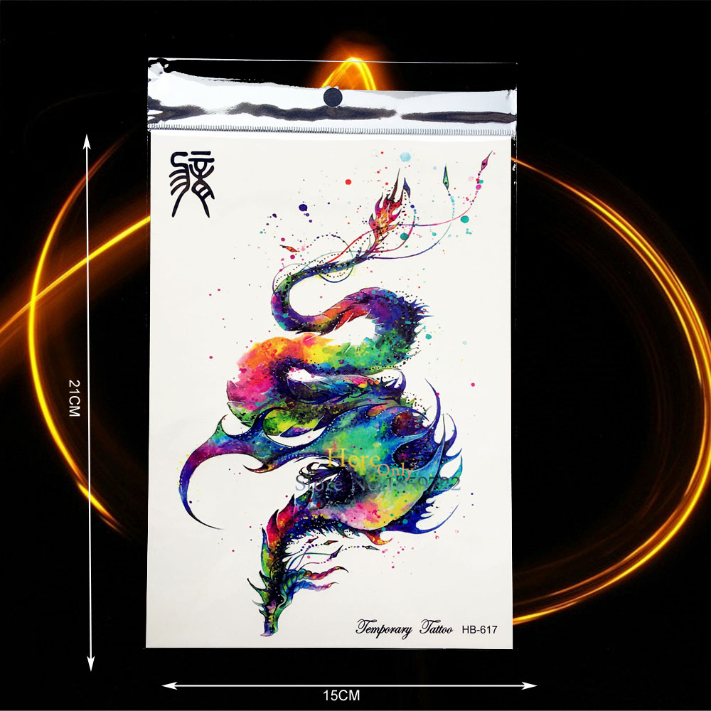 Us 086 Exquisite Body Back Art Waterproof Tattoo Chinese Dragon Phoenix Design Men Women Temporary Tattoo Stickers Onderarm Taty Hhb617 In