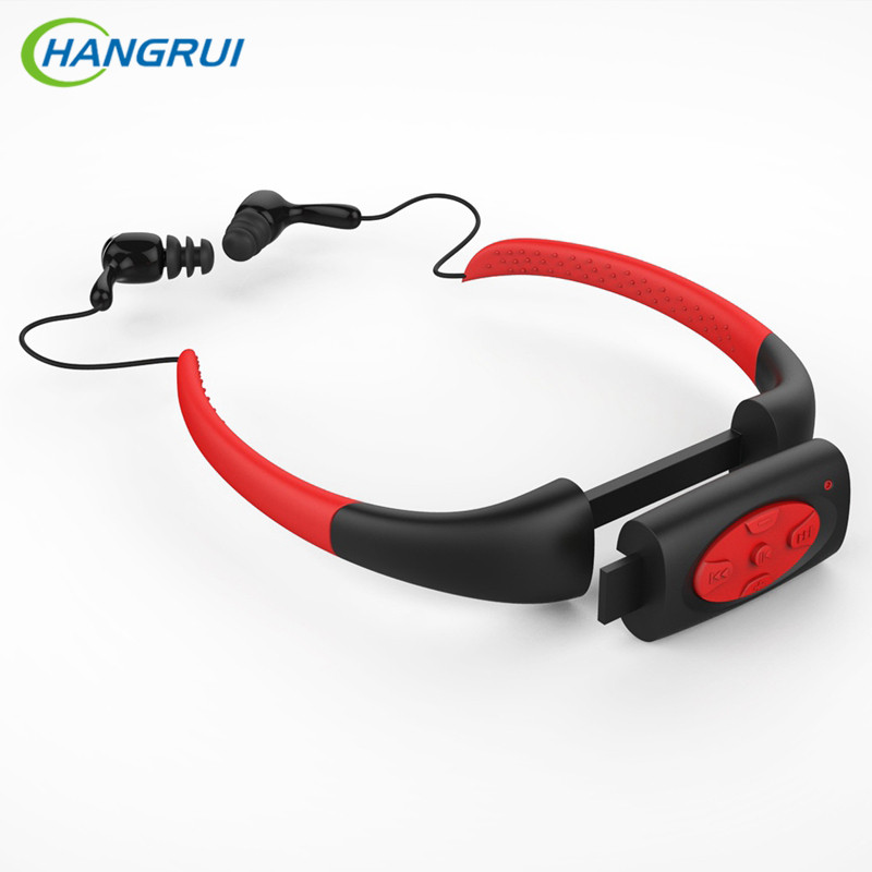HANGRUI IPX8 Waterproof MP3 Player Earphone Swimming Surfing Hiking Music Sport Headset Built-in 4G 8G Memory Stereo Headphone