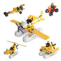 5 in 1 Children's Educational Kids Toys Model Building Blocks Kit Plane Helicopter Car ABS Plastic Assembly Model Original Sets