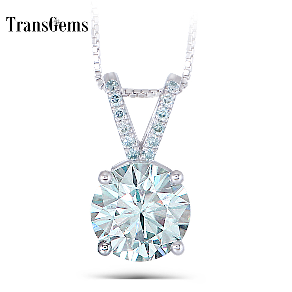 Transgems Platinum Plated Silver 3.08CTW 9mm Round Brilliant Moissanite Pendant Necklace with Accents for Women moissanite pendant 18k 750 yellow gold round brilliant lab grown moissanite diamond pendant necklace chain for women jewelry