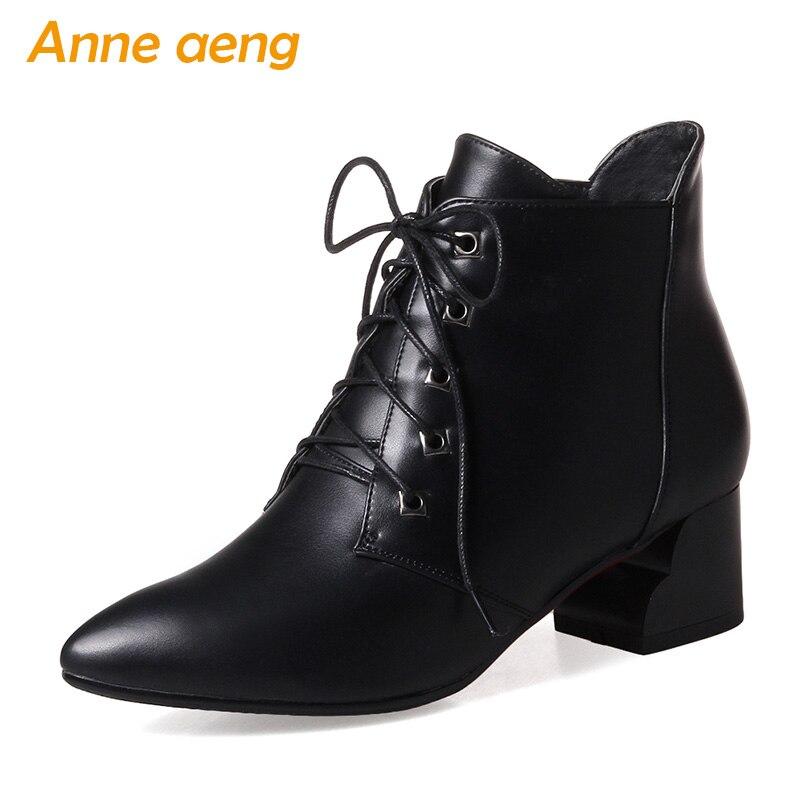 2018 nouveau hiver femmes bottines talon moyen bout pointu à lacets classique Sexy dames hiver femmes chaussures noir bottes de neige
