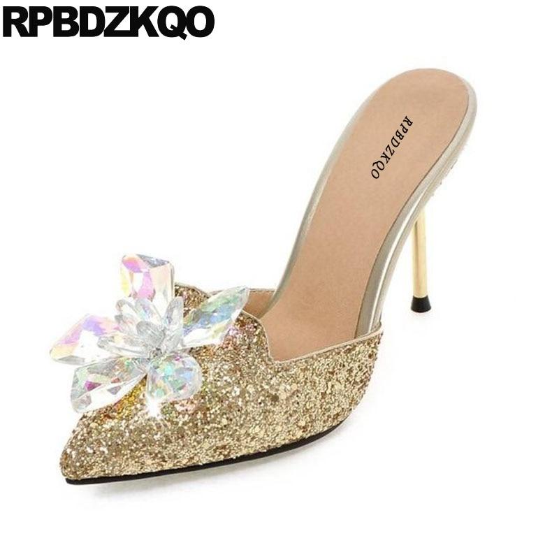 f2f91ec7ee6 Ladies Silver Scarpin Pumps Pointed Toe 10 42 11 43 Rhinestone Crystal  Sandals Mules Slipper Crossdresser Gold Glitter Heels