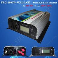 High efficiency 45-90v to 110v 120v 220v 230v ac to ac wind generator inverter 1kw grid tie