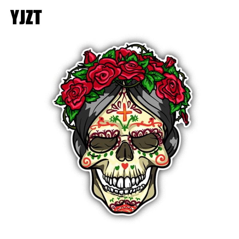 YJZT 10.5CM*13CM Rose Sugar Skull Day Of The Dead Car Sticker Window Decal 6-1307