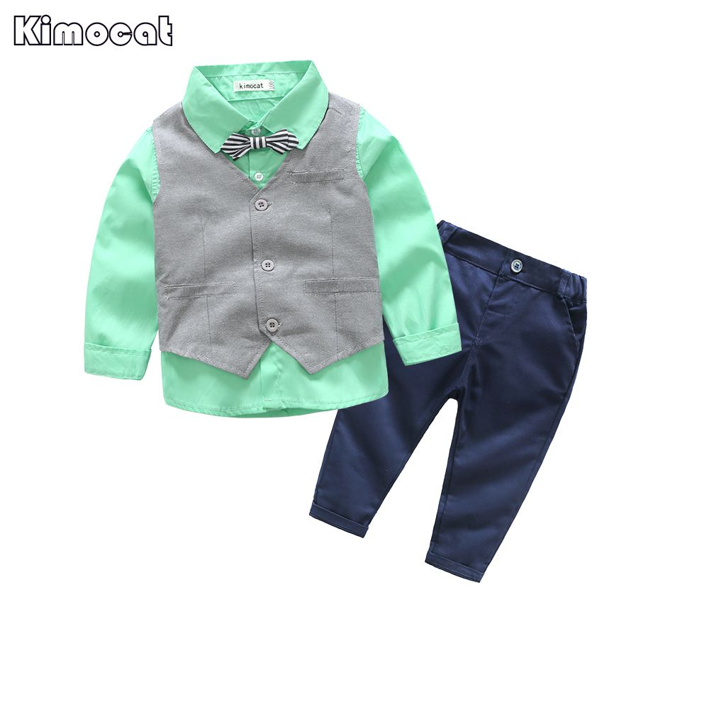 Kimocat Newborn Baby Clothes Gentleman Baby Boy Wedding Baby Clothing Set  Baby Boy Clothes Shirt+Vest+Pant+Bow gentleman baby boy clothes black coat striped rompers clothing set button necktie suit newborn wedding suits cl0008