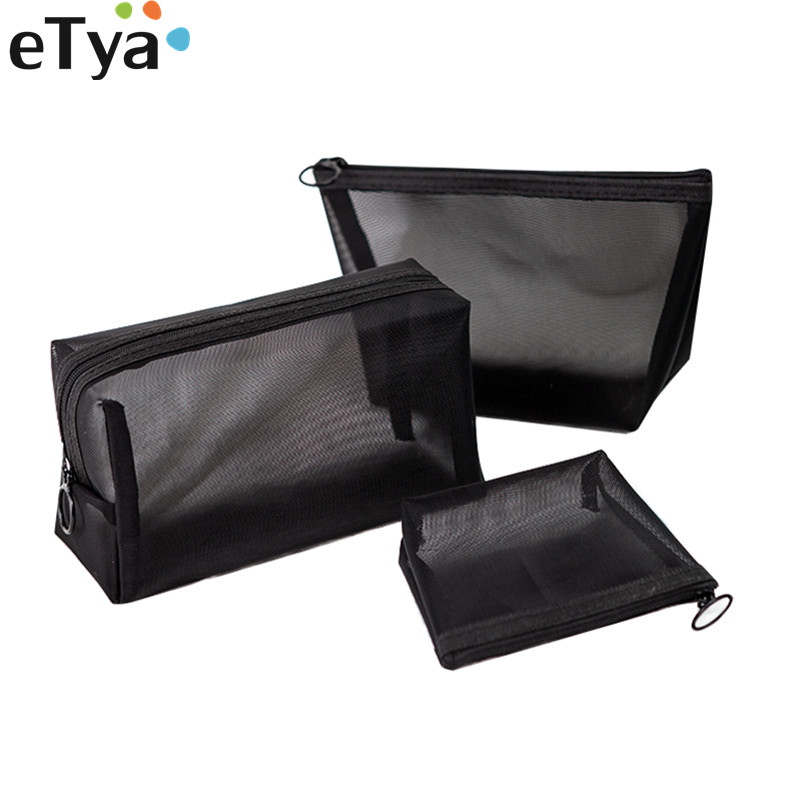 ETya Travel Mesh Cosmetic Bag For Women Girl Transparent Neceser Makeup Storage Organizer Pouch Toiletry Beauty Wash HandBags