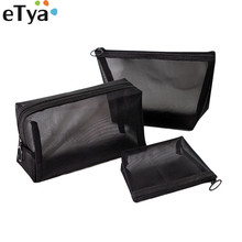 eTya Travel Mesh Cosmetic Bag For Women Girl Transparent Neceser Makeup Storage Organizer Pouch Toiletry Beauty Wash HandBags travel organizer women small mesh breathable admission package wash cosmetic pouch change mala de maquiagem