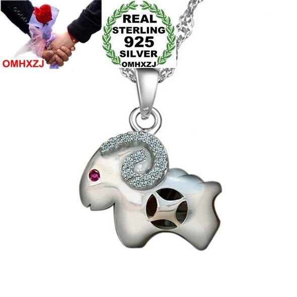 Omhxzj оптовая продажа ювелирных изделий Геометрическая женщина человек зодиака овец Мода Star 925 серебро не цепь Цепочки и ожерелья подвеска По...