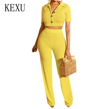 KEXU Casual Two Pieces Sets Turn-down Short Sleeve Jumpsuits New Fashion Sexy Knitted Playsuits Summer Rompers Combinaison Femme