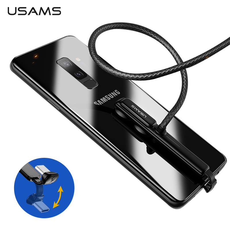 USAMS Cabo Tipo C 5V-3A/9V-2A 18 W Fio Rápido Carregamento USB C Jogo Cabo USB rápido 180 Graus cabo de carga de Dados para Samsung Nota 9 S8 S9