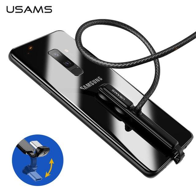 USAMS type C кабель 5V-3A/9V-2A 18 Вт Быстрая зарядка USB C кабель игровой USB провод 180 градусов быстрая зарядка данных для iPhone samsung S9 S8