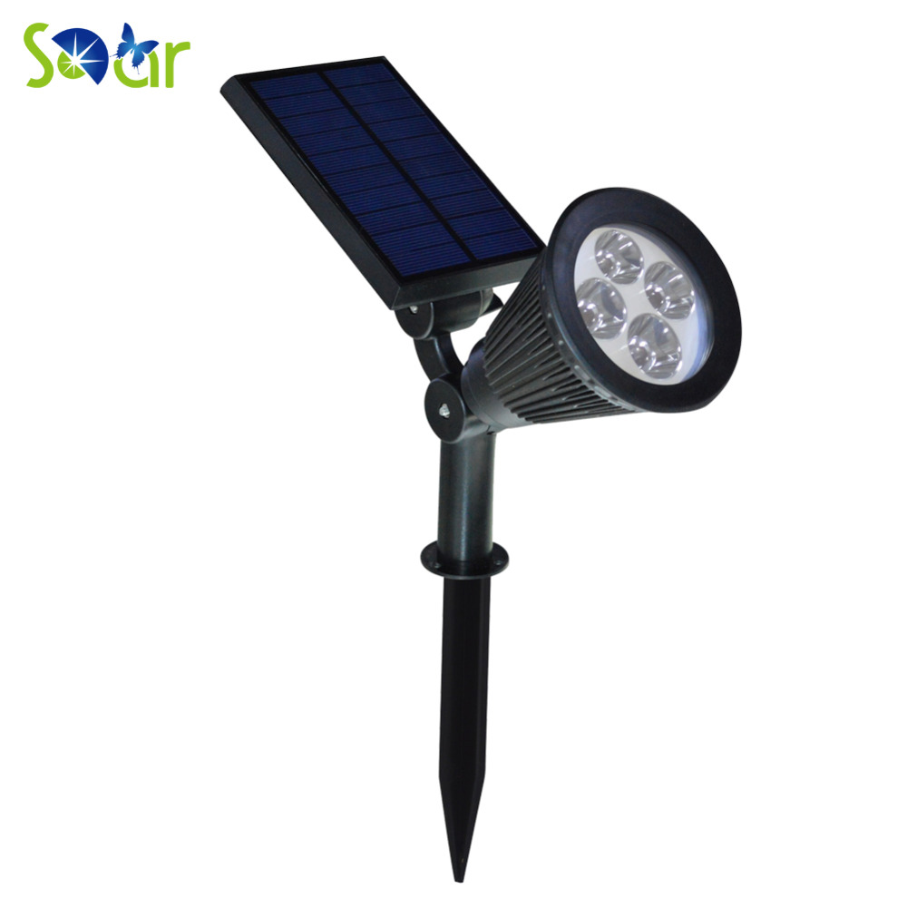 Led Solar Spotlight Outdoor Wall Lights Ground 4 Waterproof Security Lamp 200 Lumens Landscaping