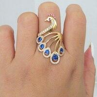 الصلبة 14 كيلو الذهب الأصفر الأزرق الياقوت روبي الطبيعي المويسانتي خاتم الخطوبة للنساء