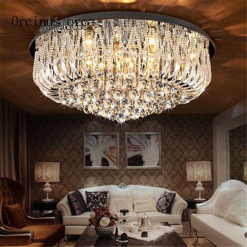 Crystal Ceiling Lights Modern Lamps Luxury Ceiling lamps Chrome Round Crystal Lighting Home LED Fixture free shipping